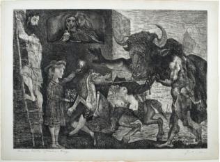 Pablo Picasso, La Minotauromachie, 1935, VIIe état. Eau-forte, grattoir et burin sur papier, 49,5 x 69 cm, gravure de Picasso publiée par Zervos, en pleine page, dans le numéro de 1935 sur l'œuvre de Picasso entre 1930 et 1935