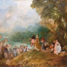 Watteau Antoine, Pèlerinage à l'île de Cythère, dit L'Embarquement pour Cythère, 1717, huile sur toile, 129 × 194 cm, musée du Louvre, Paris