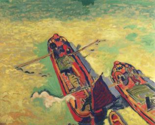Derain André, Les Deux péniches, 1906, huile sur toile, 80 x 97,5 cm, musée national d'art moderne, Paris