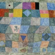 Klee Paul, Jeu aimable, 1933, Aquarelle sur plaque de plâtre, cloué sur le cadre, 27,7 x 30,3 cm, Kupferstichkabinett Berlin