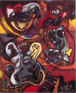 Masson André, La Pythie, 1943, huile et tempera sur toile, 130,5 x 106,5 cm, Centre national d'art moderne, Paris