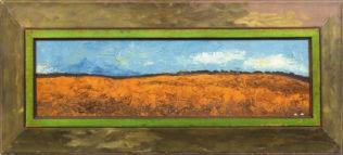 Braque George,La plaine I, 1955-1956, huile sur toile, cadre peint par l'artiste, 21 x 73 cm, Fondation Maeght, Saint-Paul de Vence