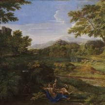 Nicolas Poussin, Paysage aux deux nymphes, 1659, huile sur toile, 118 × 179 cm, Musée Condé, Chantilly