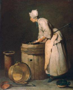 Chardin Jean Siméon, L'arrière-cuisine, 1738, huile sur toile, 45,7 x 36,9 cm, Hunterian Museum and Art Gallery de l'université de Glasgow, Glasgow