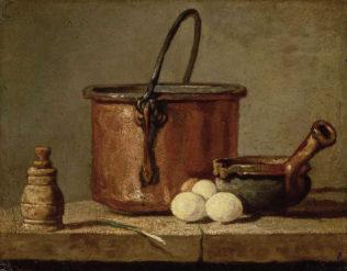 Chardin Jean Siméon, Chaudron de cuivre rouge étamé, poivrière, poireau, trois oeufs et poêlon posés sur un table, 1737, huile sur bois, 17 x 21 cm, Musée du Louvre, Paris