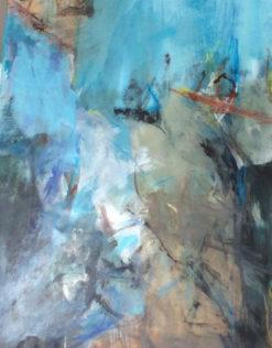 Marie Haffreingue, Entre ciel et terre, Acrylique sur carton marouflé, 115 x 70 cm. Reproduction © Galerie Estelle Lebas