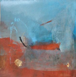 Marie Haffreingue, Lac Inké, Techniques mixtes sur papier, 38 x 38 cm. Reproduction © Galerie Estelle Lebas