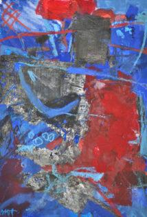 Marie Haffreingue, Vie portuaire, Techniques mixtes sur papier, 34 x 23 cm. Reproduction © Galerie Estelle Lebas