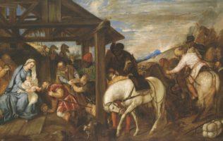 Tiziano Vecellio, dit le Titien, L'Adoration des Mages, seizième siècle, huile sur toile, 141 x 219 cm, Musée du Prado Madrid, Copyright de la imagen ©Museo Nacional del Prado