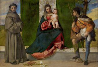 Tiziano Vecellio, dit le Titien, La vierge avec l'enfant entre Saint Antoine de Padoue et Saint Roch, vers 1508, huile sur toile, 92 x 133 cm, Musée du Prado Madrid, Copyright de la imagen ©Museo Nacional del Prado