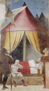Piero della Francesca, La légende de la Vraie Croix - Le songe de Constantin, 1452-1459, fresque, 329 x 190 cm, Arezzo, San Francesco