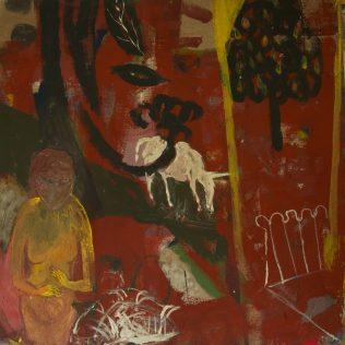 Marie Sallantin, Dame et licorne, dans le jardin de Bonnard, 1991, acrylique sur toile, 80 x 80 cm
