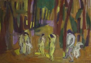 Marie Sallantin, Forêts, compagnie de Vénus (n°2), 2018, tempera sur toile, 64 x 92 cm