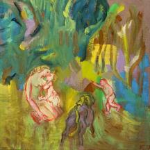 Marie Sallantin, Forêts, maternité, 2016, tempera sur toile, 50 x 50 cm