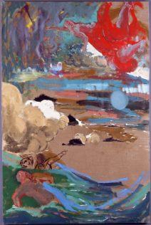 Marie Sallantin, Nymphes et univers 1995 (2), tempera sur toile, 195 x 130 cm
