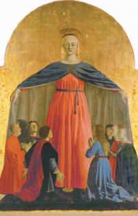 Piero della Francesca, la Vierge de miséricorde, 1445-1462, tempera et or sur bois, 134 × 91 cm, Museo Civico di Sansepolcro, Sansepolcro