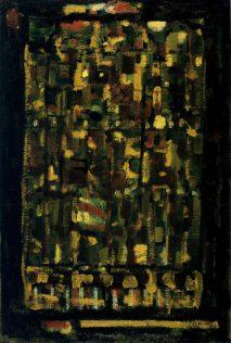 Roger Bissière, Vert et ocre, 1954, huile sur toile de jute montée sur contre-plaqué sur chassis, 114 x 77 cm, @Jeanne Bucher