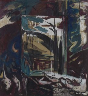 Guillaume Beaugé, Grand torrent carré bleu, 2000, 103 x 100 cm