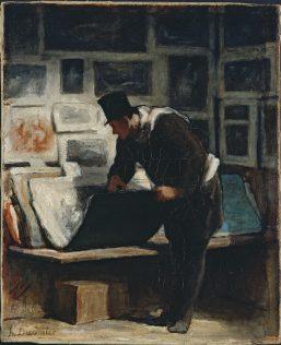 Daumier Honoré, L'amateur d'estampes, vers 1860, huile sur toile, 41 x 33,5 cm, Petit Palais, Paris