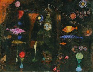 Klee Paul, Magie des poissons, 1925, huile et aquarelle, 77 x 98 cm, The Philadelphia Museum of Art