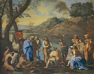 Nicolas Poussin, Saint Jean baptisant le peuple, huile sur toile, 120 cm x 94 cm, le Louvre, Paris