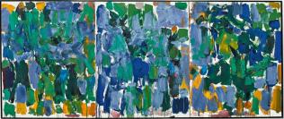 Mitchell Joan, Parasol, 1977, huile sur toile, 100 x 243,8 cm, collection particulière