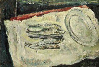 Chaïm Soutine, Nature morte aux harengs avec plat ovale, 1917, huile sur toile, 50,3 x 73 cm, collection particulière