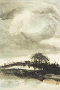 Xiao Qing, Fin du jour, peinture à l'encre, 66 x 45 cm, 2004