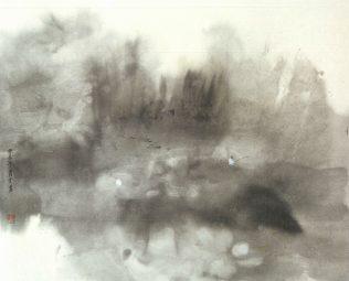 Xiao Qing, Rive de lac, peinture à l'encre, 60 x 48 cm, 2005 Cliquez sur les reproductions pour agrandir !