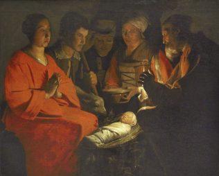 Georges de la tour, L'adoration des bergers, vers 1640, huile sur toile, 107 x 137 cm, musée du Louvre, Paris