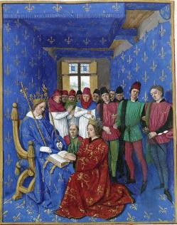 Fouquet Jean, Hommage d'Édouard Ier à Philippe le Bel, Grandes Chroniques de France, enluminées par Jean Fouquet, Tours, vers 1455-1460 Paris, BnF, département des Manuscrits, vers 1455