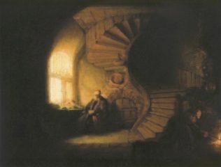 Rembrandt, Philosophe en méditation, 1632, huile sur bois, 28 x 34 cm, musée du Louvre, Paris