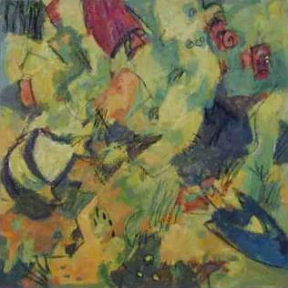Clémentine Odier, Aquarium carré, huile sur toile, 100 x 100 cm
