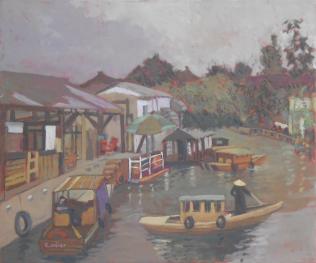Clémentine Odier, Le canal à Suzhou, huile sur toile, 65 x 54 cm
