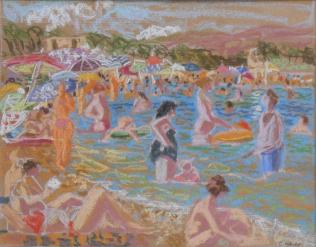 Clémentine Odier, La plage du Lavandou, pastel sec, 28 x 21 cm
