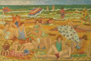 Clémentine Odier, Plage blonde, huile sur toile, 73 x 50 cm
