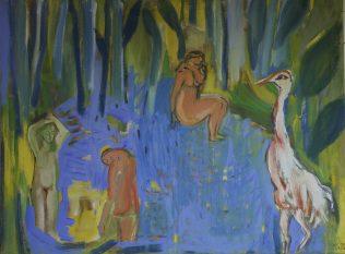 Sallantin Marie, Baigneuses dans l'étang — le printemps, 2018-2020, tempera sur toile, 93 x 130 cm