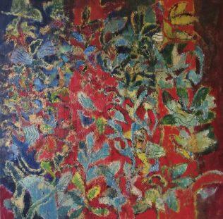 Jacques Dromart, Jardin, 2019, huile sur toile 100 x 100 cm