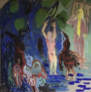 Sallantin Marie, le peintre, le modèle, le motif — suite étangs, 2020, 150 X 150 cm, tempera sur toile [dernier état]