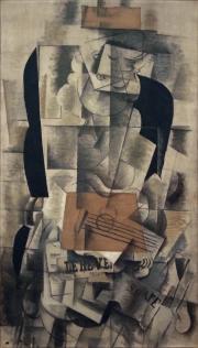 Braque Georges, Femme à la guitare, 1913, fusain et huile sur toile, 130 x 73 cm, Centre Pompidou, Paris, France