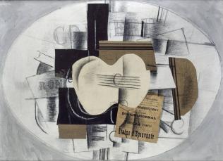 Braque Georges, La guitare, statue d'épouvante, 1913, fusain, gouache, papiers collés, 73 x 100 cm, Musée national Picasso, Paris